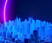 City Buildings In Neon Lights. Growing Megapolis. Cityscape With Futuristic Architecture Skyscrapers poster