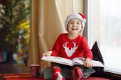 Little Boy Reading A Book And Drinking Hot Cocoa In Decorated Cozy Living Room. Happy Kid On Christm poster