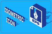 Isometric Eps File Document. Download Eps Button Icon Isolated On Blue Background. Eps File Symbol.  poster