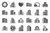 Buildings Icons. Bank, Hotel, Courthouse. City, Real Estate, Architecture Buildings Icons. Hospital, poster