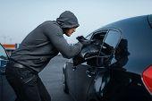 Car robber takes womens handbag, stealing poster