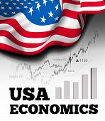 American Economics Vector Illustration With Flag Of The Usa And Business Chart, Bar Chart Stock Numb poster