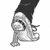 Chewing Bubble Gum Stuck To The Shoe Sketch Engraving Vector Illustration. T-shirt Apparel Print Des poster