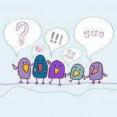 Cartoon birds talking
