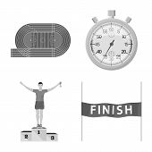 Vector Design Of Success And Marathon Logo. Set Of Success And Winner Stock Vector Illustration. poster