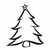 Fir Tree For Christmas Symbol Icon Thick Line Art. Outline Design Of Evergreen Pine Tree Isolated On poster