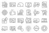 Seo Line Icons. Set Of Increase Sales, Business Ad Strategy And Website Optimization Icons. Puzzle,  poster