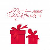 Vector Greeting Card With Gift Boxes And Lettering Merry Christmas. Easy To Use Business Template. C poster