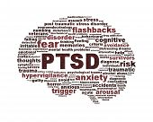 picture of aroused  - PTSD symbol conceptual design isolated on white background - JPG