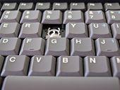 Broken button on grey keyboard