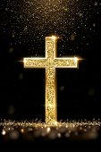 Gold Prayer Cross Realistic Vector Illustration. Luxurious Jewelry, Elegant Accessory Under Golden G poster