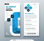 Blue Dl Flyer Design With Square Shapes, Corporate Business Template For Dl Flyer. Creative Concept  poster
