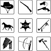 picture of derringer  - Old West Symbols black and white silhouettes in a nine square grid - JPG