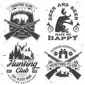 Set Of Hunting Club Badge. Vector Concept For Shirt Or Label, Print, Stamp. Vintage Typography Desig poster