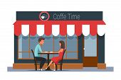 Romantic Date In Cafe Flat Vector Illustration. Husband And Wife Cartoon Characters. Couple Sitting  poster