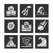 Weather, Natural Disasters, Square Icons, Hatching, Vector. Images Of Various Natural Disasters. Vec poster