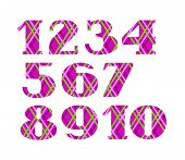 The Figures, Cage, Diamond Pattern, Purple, Vector. Purple Numbers With Serif. Thin Colored Lines On poster