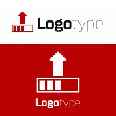 Red Loading Icon Isolated On White Background. Upload In Progress. Progress Bar Icon. Logo Design Te poster
