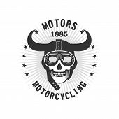 Vector Skull Emblem Motorcycle Helmet And Motorcycle Glasses On A White Background poster