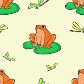 Seamless Pattern, Frog On A Water Lily. Vector Lace Pattern poster
