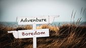 Street Sign The Direction Way To Adventure Versus Boredom poster