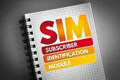 Sim - Subscriber Identification Module Acronym, Technology Concept Background poster