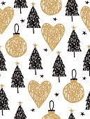 Lovely Christmas Tree Seamless Vector Pattern. Christmas Tree Vector Print. Black Trees, Gold Hearts poster