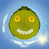 foto of swales  - green planet of lawn with flowers around blue sky square photo collage - JPG