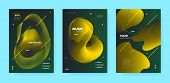 Gradient Flow Shapes. Disco Club Party Flyer. Gold Music Background. Dj Poster. Green 3d Futuristic  poster