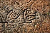Rock Paintings Of Ancient Civilizations. Made By The Aborigines Of Central America By The Taino Indi poster
