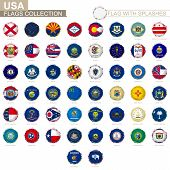 Flag Collection Of Us State, Round Grunge Flag With Splashes. States Vector Flag. poster