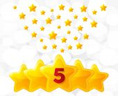 Five Golden Stars. Best Rated, Feedback Rating, Customer Satisfaction. Best Quality Service. Five-po poster