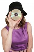 Woman Holding Cd Or Dvd