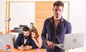 His Mobile Work Companion. Young Handsome Employee And Coworkers Working In Mobile Workstation. Mobi poster
