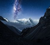 Center Of Our Milky Way Galaxy Above The Annapurna Conservation Are In The Himalayan Mountains Nepal poster