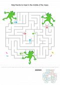 Maze for kids with frogs