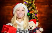 Blow Bubbles With Gum. Only Fun On My Mind. Girl Santa Claus Making Big Bubble With Gum. Funny Face  poster