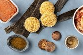 Ramen Ingredients. Dried Sea Vegetable Kelp, Soba Noodles, Miso Paste, Bonito Tuna Flakes, Shiitake  poster