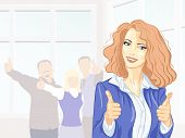 Beautiful Young Business Woman With Thumbs Up At The Office Smiling