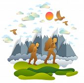 Active Father And Teenage Son Hiking Through Grasslands To Mountains, Birds In The Summer Sky. Fathe poster