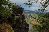 Saxon Switzerland, Germany: View From Viewpoint Of Bastei, To Elbe River And Kurort Rathen, National poster