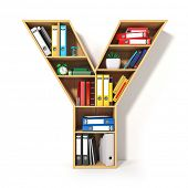Letter Y. Alphabet in the form of shelves with file folder, binders and books isolated on white. Arc poster