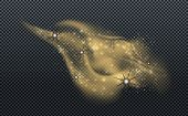Golden Dust With Small Particles And Sparkles Isolated On Transparent Background. Stardust Glowing G poster