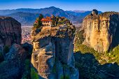 Aerial View From The Monastery Of The Holy Trinity In Meteora, Greece poster