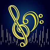 Treble And Bass Clefs Over A Colored Background - Vector poster