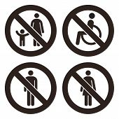 Parent And Child Sign, No Disabled People Allowed Sign, No Man Sign, No Woman Sign. Prohibited Signs poster