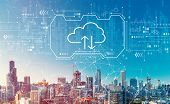 Cloud Computing With Downtown Chicago Cityscape Skyscrapers poster