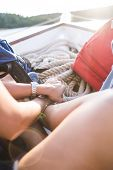 Rope On A Yacht Close Up. Equipment For The Boat. Traveling On A Rented Boat. A Woman Is Sailing On  poster