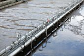 stock photo of sedimentation  - View of some water treatment plant facilities - JPG