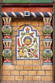 Majolica tiles on the facade of the house St. Petersburg
